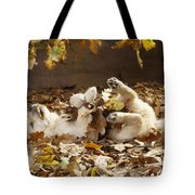 Golden Retriever Puppy In Leaves Tote Bag