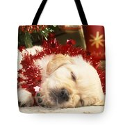Golden Retriever Under Christmas Tree Tote Bag