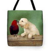 Golden Retriever With Grand Eclectus Tote Bag