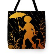 Golden Silhouette Of Child And Geese Walking In The Rain Tote Bag