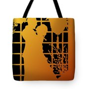 Golden Silhouette Of Couple Embracing Tote Bag