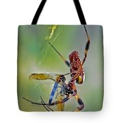 Golden Silk Orb With Blue Dragonfly Tote Bag