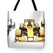 Golden Silver Bronze Race Car Color Sketch Tote Bag