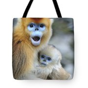 Golden Snub-nosed Monkey And Young China Tote Bag