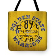 Golden State Warriors Basketball Team Retro Logo Vintage Recycled California License Plate Art Tote Bag