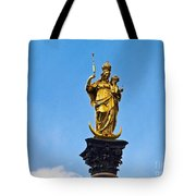 Golden Statue Of The Virgin Mary In Munich Germany Tote Bag
