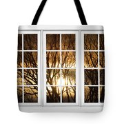 Golden Sun Silhouetted Tree Branches White Window View Tote Bag