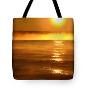 Golden Sunrise Over The Water Tote Bag