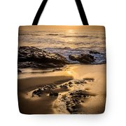 Golden Sunset At The Beach Tote Bag