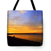 Golden Sunset On The Harbor Tote Bag