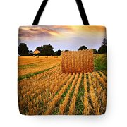 Golden Sunset Over Farm Field In Ontario Tote Bag