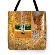 Golden Weeping Birch Tree Collage Tote Bag