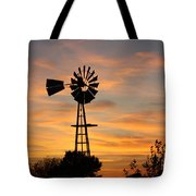 Golden Windmill Silhouette Tote Bag