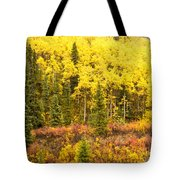 Golden Yellow Fall Boreal Forest In Yukon Canada Tote Bag