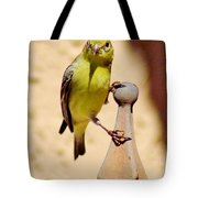 Goldfinch Hanging On 031015ac Tote Bag