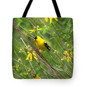 Goldfinch In The Flowers Tote Bag