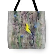 Goldfinch In Wildflowers Tote Bag