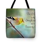 Goldfinch With Rosy Shoulder - Digital Paint And Verse Tote Bag