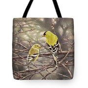 Goldfinches In The Rain Tote Bag