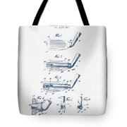 Golf Club Patent Drawing From 1917 - Blue Ink Tote Bag