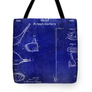 Golf Patent History Drawing Blue Tote Bag
