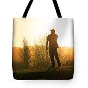 Golfer At Sunset Tote Bag