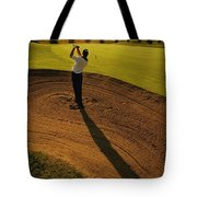 Golfer Taking A Swing From A Golf Bunker Tote Bag