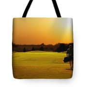 Golfer Walking On A Golf Course Tote Bag