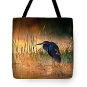 Goliath Heron With Sunrise Over Misty River Tote Bag