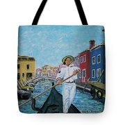 Gondolier At Venice Italy Tote Bag