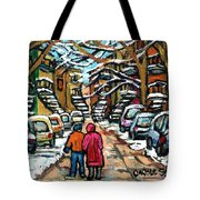 Good Day In January For Winter Stroll Snowy Trees And Cars Verdun Street Scene Painting Montreal Art Tote Bag
