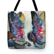 Cowboy Boots In Watercolor Good Ride Tote Bag