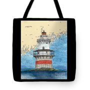 Goose Rocks Lighthouse Me Nautical Chart Peek Art Tote Bag