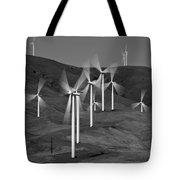 Gorge Windmills B W Tote Bag