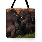 Gorillas Having Fun Together  Tote Bag