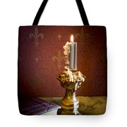 Gothic Scene With Candle And Gilt Edged Books Tote Bag