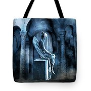 Gothic Surreal Angel In Mourning With Ravens Tote Bag