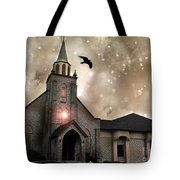 Gothic Surreal Haunted Church And Steeple With Crows And Ravens Flying  Tote Bag