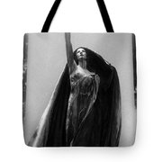 Gothic Surreal Haunting Female Cemetery Mourner Figure Black Caped Woman In Front Of Gravestone Tote Bag