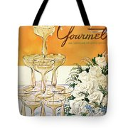 Gourmet Cover Featuring A Pyramid Of Champagne Tote Bag