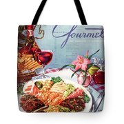 Gourmet Cover Illustration Of A Plate Of Antipasto Tote Bag