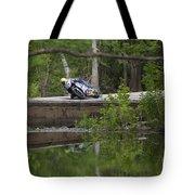Superbike On Creek Bridge Tote Bag