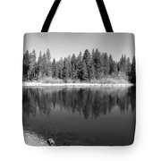 Grace Lake Reflections In Black And White Tote Bag
