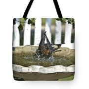 Grackle In The Bird Bath 3 Tote Bag
