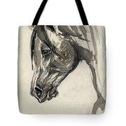 Grafik Polish Arabian Horse Ink Drawing Tote Bag