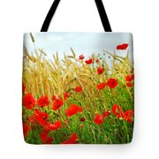 Grain And Poppy Field Tote Bag