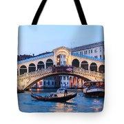Grand Canal And Rialto Bridge At Dusk - Venice Tote Bag