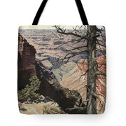 Grand Canyon View Weathered Tree Right Side  Tote Bag