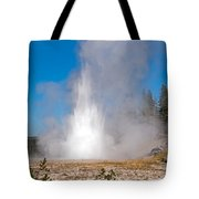 Grand Geyser In Upper Geyser Basin In Yellowstone National Park Tote Bag