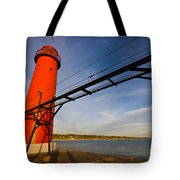 Grand Haven Lighthouse Tote Bag by Adam Romanowicz